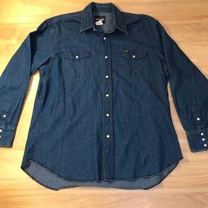 Wrangler PearlSnap Button Denim Shirt 17.5 x 35